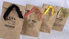 Tutorial: Print sayings on brown paper bags. Great alternative to wrapping paper for birthdays or Christmas.