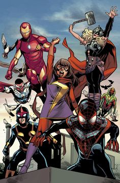 Avengers by Mahmud Asrar - Marvel Comics Marvel Avengers, Avengers Team, Marvel Comics Art, Marvel Comic Books, Comic Book Heroes, Marvel Heroes, Marvel Characters, Black Avengers, Cosmic Comics