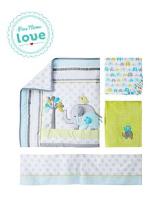 It's a parade of elephants in your baby's nursery—Circo Trunks of Love 4-piece crib bedding set.