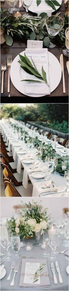 white and greenery wedding table setting ideas #wedding #weddingdecor #weddingideas