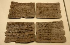 THE VINDOLANDA TABLETS: 'the oldest surviving handwritten documents in Britain. They are also probably the best source of information about life on Hadrian's Wall. Written on fragments of thin, post-card sized wooden leaf-tablets with carbon-based ink, the tablets date to the 1st and 2nd centuries AD (roughly contemporary with Hadrian's Wall).' ✫ღ⊰n