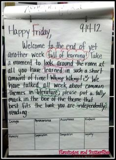 responsive classroom, morning message