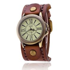 Vintage Cow Leather Bracelet Watch Women WristWatch Casual Luxury Quartz Watch
