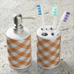 Apricot Orange Country Cottage Gingham Pattern Bathroom Set - modern gifts cyo gift ideas personalize