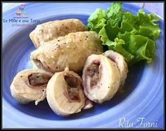 Condividi la ricetta...INVOLTINI DI POLLO RIPIENI RICETTA DI: RITA FORNI Ingredienti: Per 4 persone 8 fettine di petto di pollo 6 fette sottili di mortadella 200 g di salsiccia 80 g di parmigiano grattugiato e…