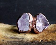 Raw Amethyst Ring Rough Stone Jewelry Raw Crystal Dual Stone Size 7 Ring February Birthstone Ring Copper Gemstone Ring