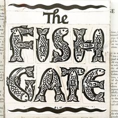 Original lettering artwork of The Fish Gate book cover by Berthold Wolpe from the fantastic Wolpe exhibition in London.    #meetwolpe