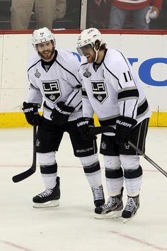 NEWARK, NJ - MAY 30: Anze Kopitar #11 of the Los Angeles Kings celebrates with Justin Williams #14 after scoring the game winning goal against the New Jersey Devils during Game One of the 2012 NHL Stanley Cup Final at the Prudential Center on May 30, 2012 in Newark, New Jersey. (Photo by Jim McIsaac/Getty Images)