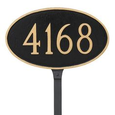 "Montague Metal Products Classic Address Plaque with 4"" Characters Finish: Black/Gold"