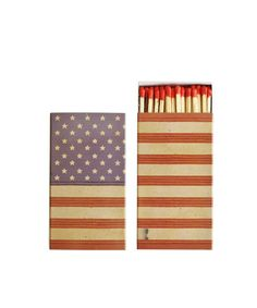 "- American Flag Matchbook! - 50 matches to a box - featuring the Stars & Stripes, wrapped around the box - box measures 4.5"" x 2.5"" x .75"""