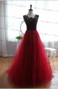 Pretty Handmade Tulle And Lace Burgundy Prom Dresses 2016, Burgundy Prom Dresses, Lace Prom Gown, F on Luulla