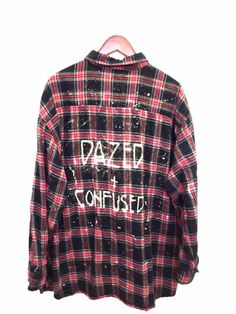 "Led Zeppelin Shirt - ""Dazed and Confused"". Plaid Flannel in Black + Red. One of a kind. Unisex. BambiAndFalana.com"