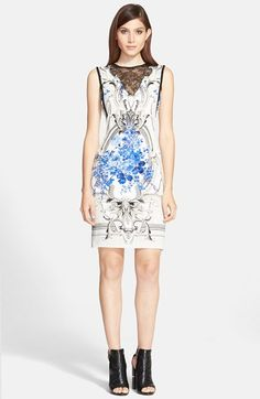 Women's Roberto Cavalli Lace Yoke Print Georgette Sheath Dress