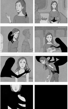 """This comic shows the life of a person with depression. Many of the parts of our dance represent the feeling of """"going crazy"""" by reaching and touching their head, also by spinning it around."""