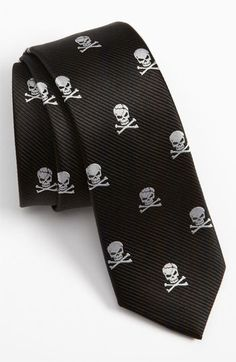 The Tie Bar Silk Skull and Crossbones Tie