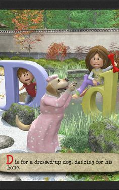 Dis for a dressed-up dog, dancing for his bone, is the next stanza in the ABC poem for kids - Planting ABC in a Garden of Memory. Up Dog, Alliteration, Planting, Kindergarten, Poems, Preschool, Memories, Dance, Learning