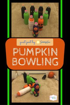 Maybe you've been bowling, but have you ever been pumpkin bowling? This multi-sensory game is perfect for Fall and makes a fun Halloween party game, too! Sensory Games, Gross Motor Activities, Fun Activities, Autumn Activities For Kids, Creative Activities, Crafts For Kids, Halloween Party Games, Halloween Crafts, Bowling