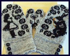 Lit-Knits, 22 Literary Knitting patterns for mittens: Alice in Wonderland Mittens, by Jennifer Lang