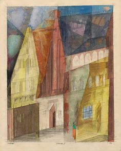 "guggenheim-art: "" Lüneburg II by Lyonel Feininger by Guggenheim Museum Size: 43.6x35.1 cm Medium: Watercolor and ink on paperSolomon R. Guggenheim Museum, New York Estate of Karl Nierendorf, By purchase © 2016 Artists Rights Society (ARS), New York /..."