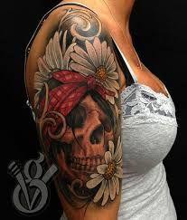 Daisy/Skull half sleeve