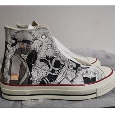 Custom Naruto Anime Sneakers Vans Sneakers, Custom Sneakers, High Top Sneakers, Painted Canvas Shoes, Hand Painted Shoes, Jordan 100, Shoe Last, On Shoes, Converse Chuck Taylor