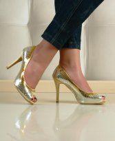 Pantofi Disco Glow Gold la Pret OK - Pantofi Stiletto Heels, Glow, Shoes, Fashion, Moda, Zapatos, Shoes Outlet, Fashion Styles, Shoe