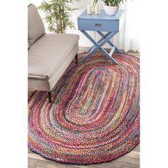 Handgeknüpfter Teppich Tammara in Bunt Rug Size: Oval 122…
