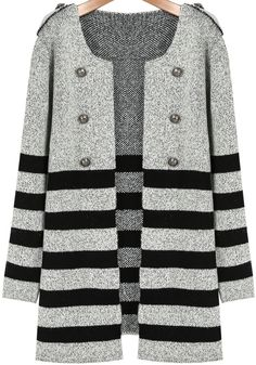 Shop Grey Long Sleeve Striped Epaulet Coat online. Sheinside offers Grey Long Sleeve Striped Epaulet Coat & more to fit your fashionable needs. Free Shipping Worldwide!