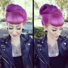 These colors complement your complexion and make your eyes pop -- all while showing off your phenomenal personality Pin Up Hair, Love Hair, Gorgeous Hair, Rockabilly Hair, Rockabilly Style, Rides Front, Coloured Hair, Retro Hairstyles, Dream Hair