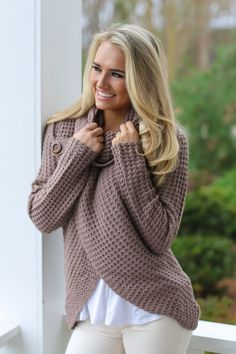 Over The Moon Dusty Mauve Cowl Neck Sweater at reddressboutique.com