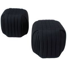 Pair Channeled & Pleated Black Wool Ottomans By Preview Furniture - pattern pieces create a cube