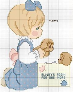 Baby Cross Stitch Patterns, Cross Stitch For Kids, Cross Stitch Fabric, Cute Cross Stitch, Cross Stitch Alphabet, Cross Stitch Designs, Cross Stitching, Cross Stitch Embroidery, Precious Moments