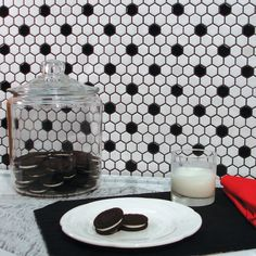 SomerTile 10.25x11.75-in Victorian Hex 1-in White/Black Dot Porcelain Mosaic Tile (Pack of 10) | Overstock.com Shopping - The Best Deals on Wall Tiles