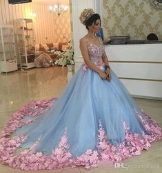 6384e08d1145 Baby Blue 3D Floral Masquerade Ball Gowns 2017 Luxury Cathedral Train  Flowers Quinceanera Dresses Prom Gowns