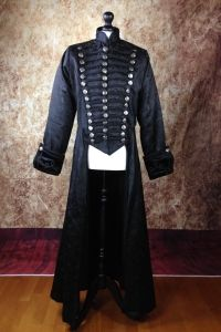 Raven Gothic Frockcoat, Full Length Black Brocade Mens Military Gothic Coat
