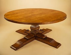 Oak Round Table on Cruciform Base
