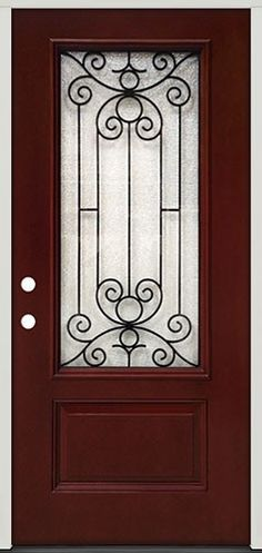 3/4 Lite Grille Pre-finished Mahogany Fiberglass Prehung Door Unit #34
