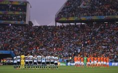 A moment of silence to honour Real Madrid great Alfredo Di Stefano was held before kick-off in today's World Cup semi-final between Argentina and the Netherlands at the Corinthians Arena in Sao Paulo. - World Cup Brazil 2014