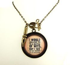 This William Shakespeare necklace contains a wonderfully barbed quote penned by the great English author set into a vintage style setting. The