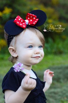Minnie Mouse Ears Headband, Baby Minnie mouse ears headband, Photo Prop, Childrens Toddler Infant,Halloween Costume, Birthday Minnie Ears by ChicSomethings on Etsy
