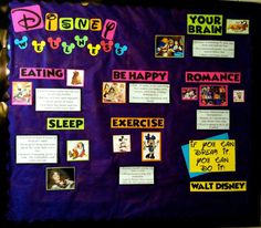Disney Wellness Bulletin Board-Minus the romance part Disney Classroom, Classroom Themes, Dorm Themes, College Bulletin Boards, Ra Bulletins, Ra Boards, School Decorations, Hall Decorations, Residence Life