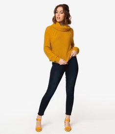 #jeanshose #pullover Retro Style Dark Blue Denim Button Up High Waist Jeans