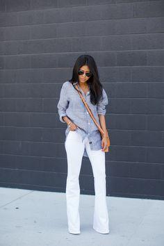 Walk in Wonderland: FRAME DENIM White Flare Jeans / Rails Button Up