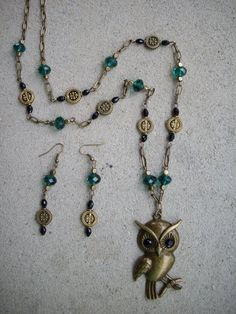 Antique Brass Owl Pendant Long Necklace with by DesignsbyPattiLynn, $50.00