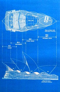 Sydney Opera House Elevation and Plan. 11 x 17. First, please note that blueprints are very difficult to photograph clearly (at least with my