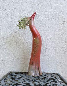 Keramik - Gartenkeramik kleiner PARADIESVOGEL, apricot - ein Designerstück von Brigitte_Peglow bei DaWanda
