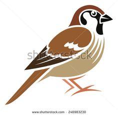 Stylized Bird - Tree Sparrow (German Sparrow) - stock vector