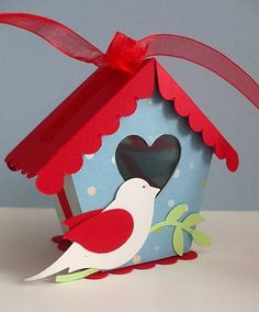 Birdhouse Template Could be done in wood as a key holder with hooks on the front and an opening door