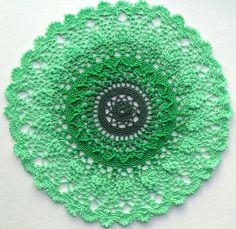Small Crochet pineapple  doily 8 green doily by Draiguna on Etsy