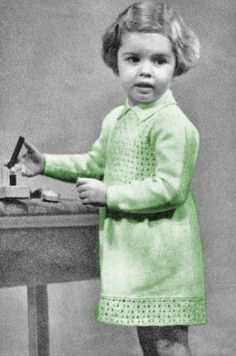 Girls Dress with Long or Short Sleeves Vintage Knitting Pattern for download Sz 2-6